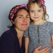 Headband Elle virevolte en tissu bio GOTS pour fillette et maman. Création française (Aveyron)